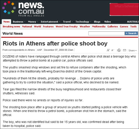 News.com.au: Riots in Athens after police shoot boy