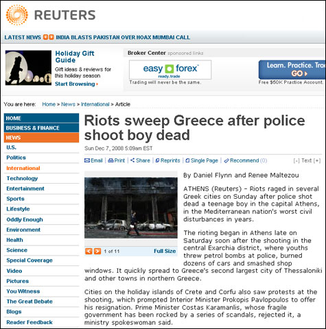 Reuters: Riots sweep Greece after police shoot boy dead