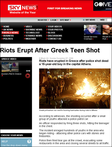 SkyNews: Riots Erupt After Greek Teen Shot