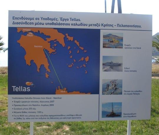 Παραλία Καραθώνα, Καλώδιο οπτικών ινών Tellas