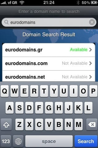 Eurodomains iPhone App