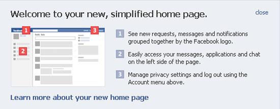 Facebook, new homepage