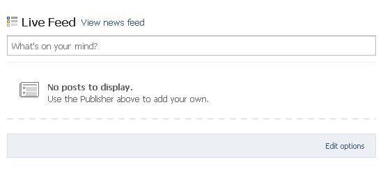 Facebook, no posts to display