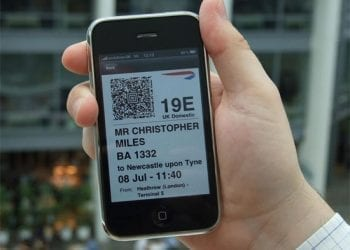 British Airways mobile boarding pass