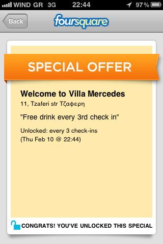 Foursquare Special στο Villa Mercedes