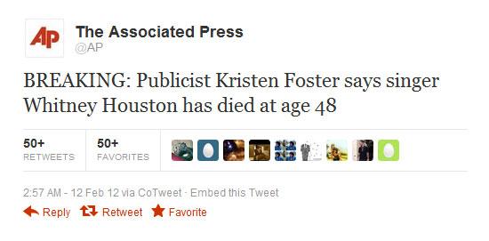 Νεκρή η Whitney Houston!