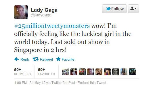 Το tweet της Lady Gaga για την πρωτιά της σε followers στο Twitter