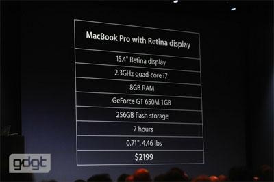 Νέο MacBook Pro με Retina display