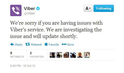 Viber τεχνικό πρόβλημα