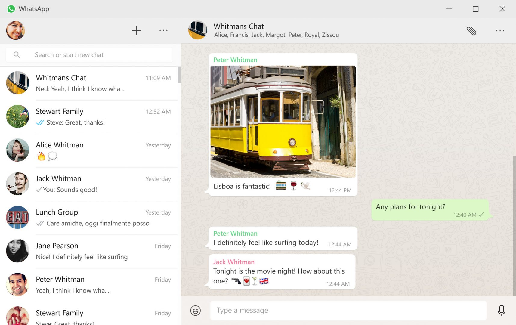 WhatsApp Windows 10 app