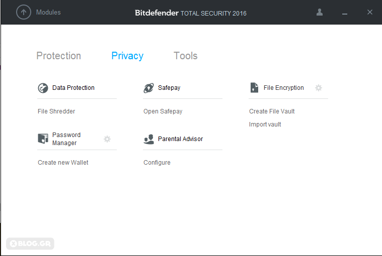 Bitdefender for Windows privacy modules