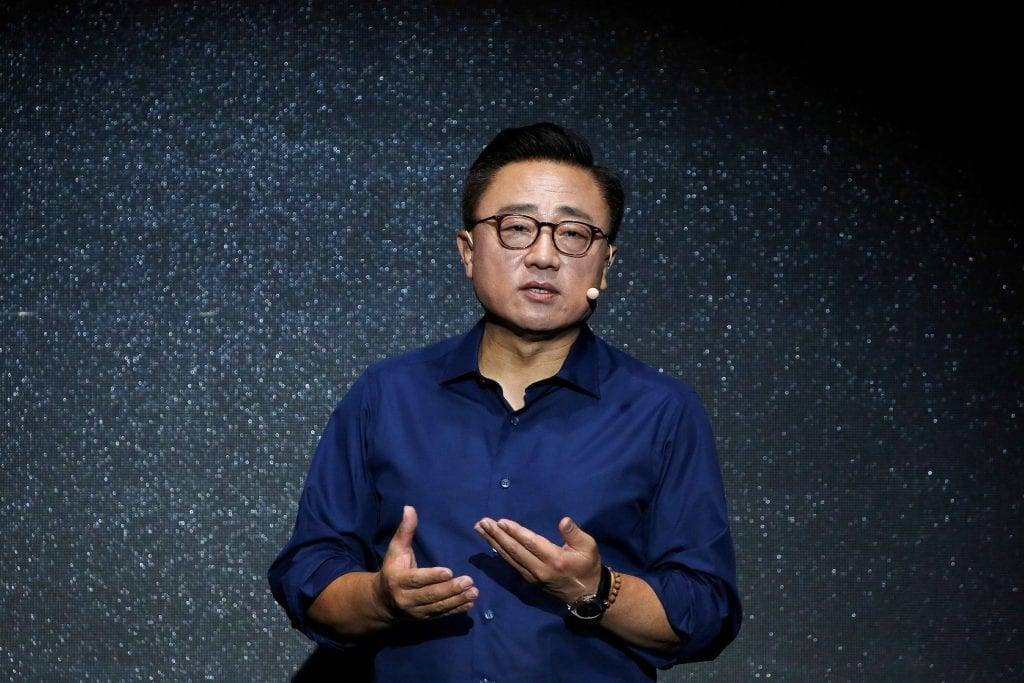 Koh Dong jin, president of Samsung Electronics' Mobile Communications Business, speaks during a launching ceremony for Galaxy Note 7 new smartphones in Seoul