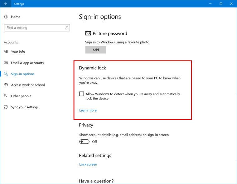 Windows 10 Creator's Update Dynamic Lock
