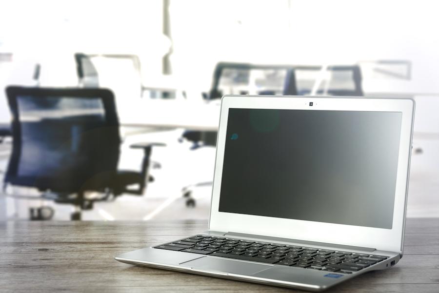 Desk laptop company office