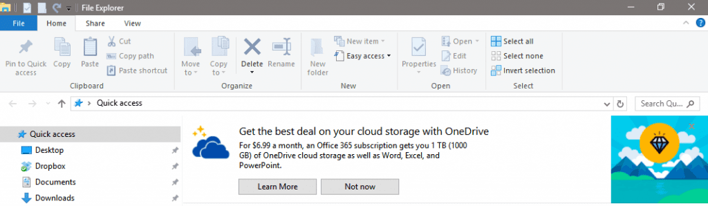 Windows 10 File Explorer ad