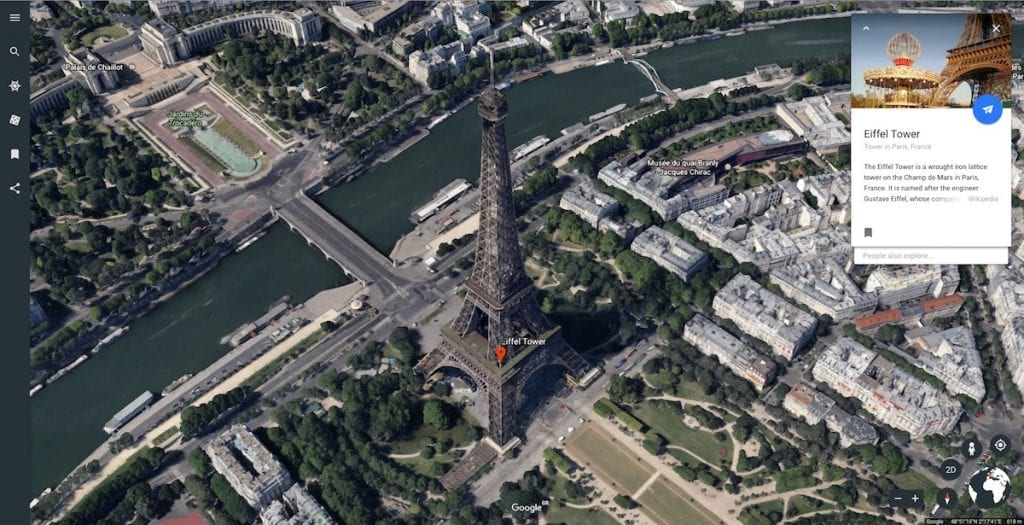 Google Earth Paris Knowledge Card