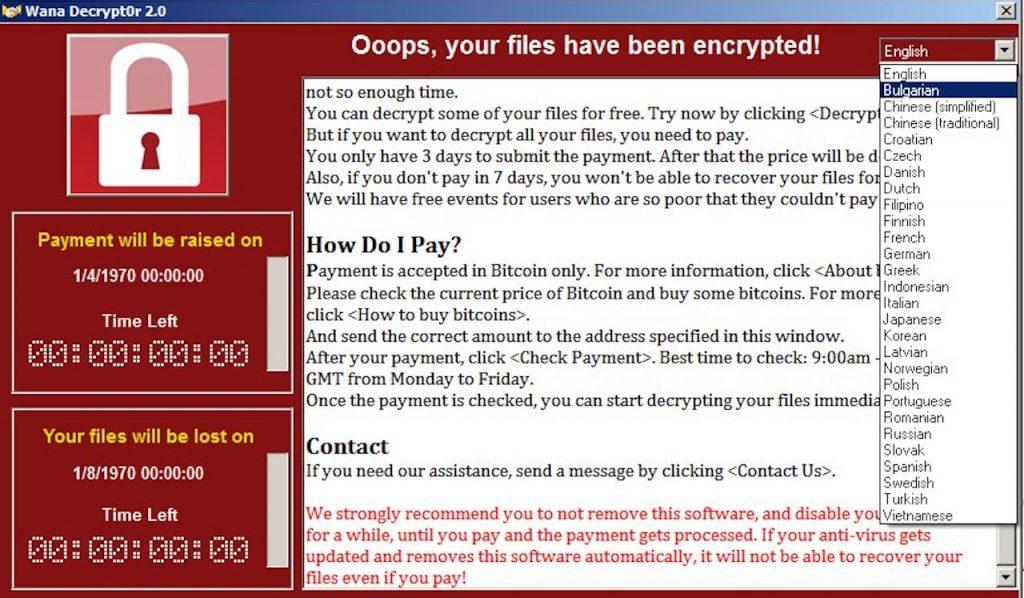 WannaCry Decrypt0r 2.0 ransomware