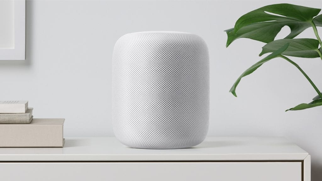 Apple HomePod white shelf