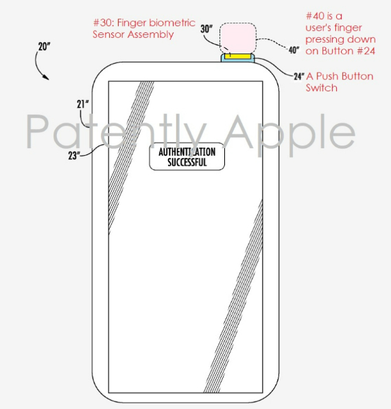Apple Touch ID on power button patent