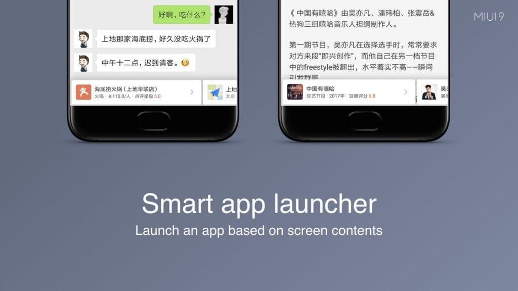 Xiaomi MIUI 9 Smart app launcher