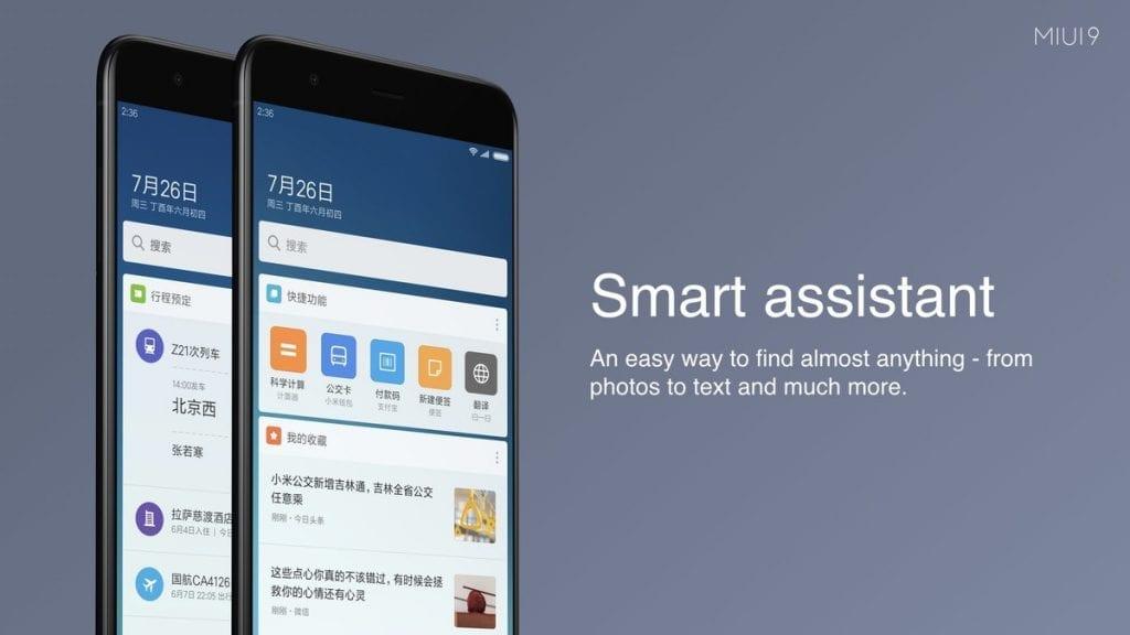 Xiaomi MIUI 9 Smart assistant