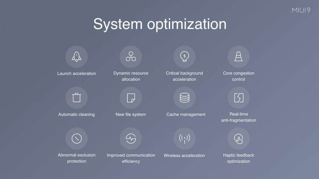 Xiaomi MIUI 9 System optimization