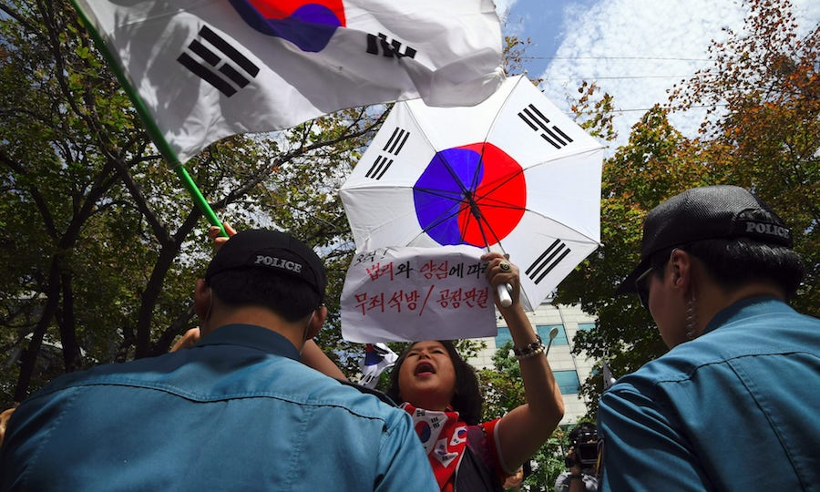 Samsung Supporters of South Korea's ousted president