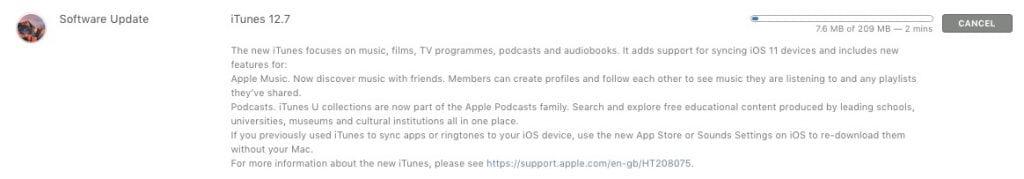 Apple iTunes 12.7 changelog