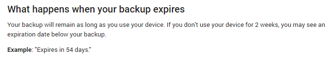 Google Android backups expiration day