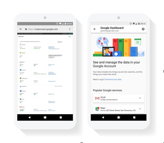 Google Dashboard mobile