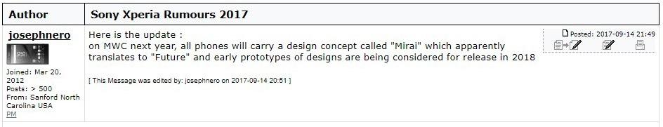 Sony Mirai design rumor