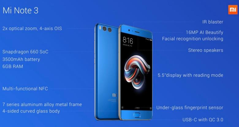 Xiaomi Mi Note 3 specs