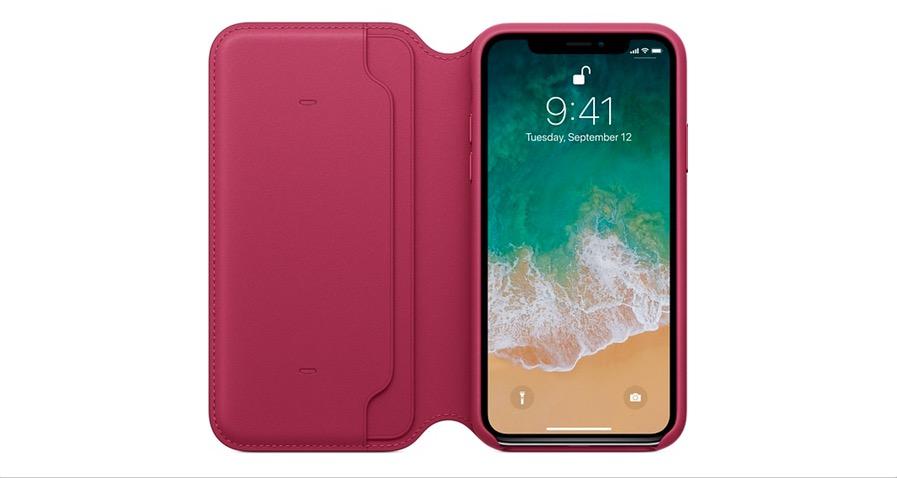 iPhone X Leather Folio Berry