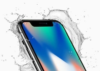 Apple iPhone X top corner splash