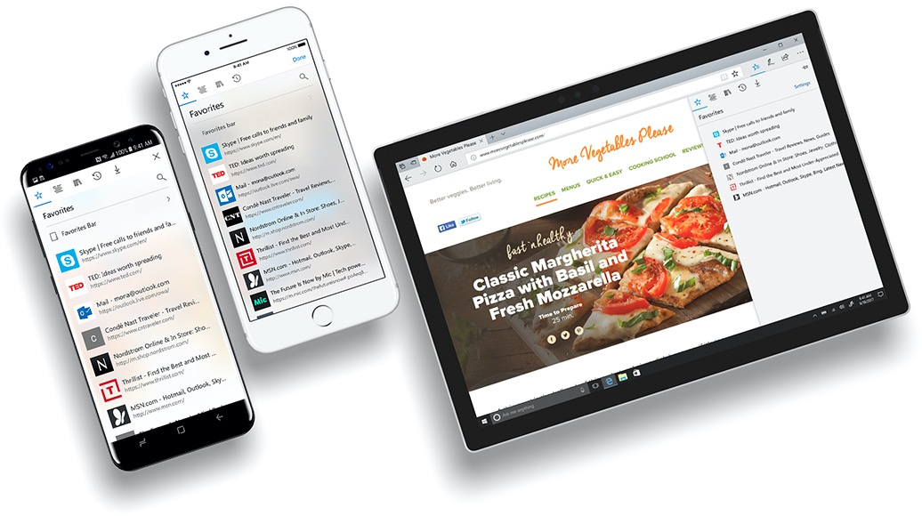 Microsoft Edge browser for iOS Android Windows