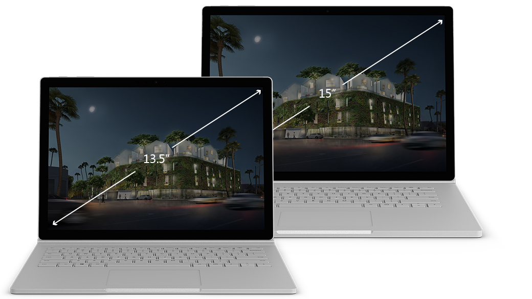 Microsoft Surface Book 2 display sizes