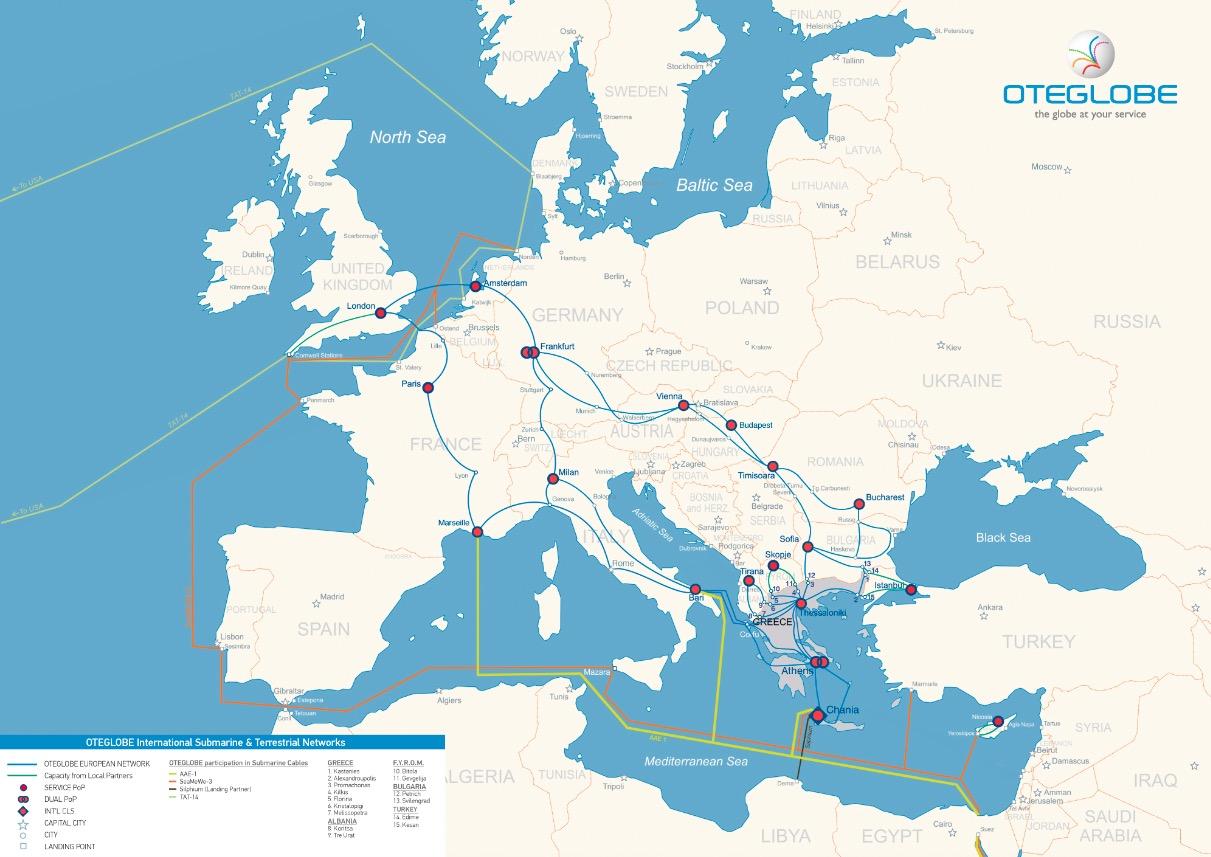 OTEGLOBE European Network Map