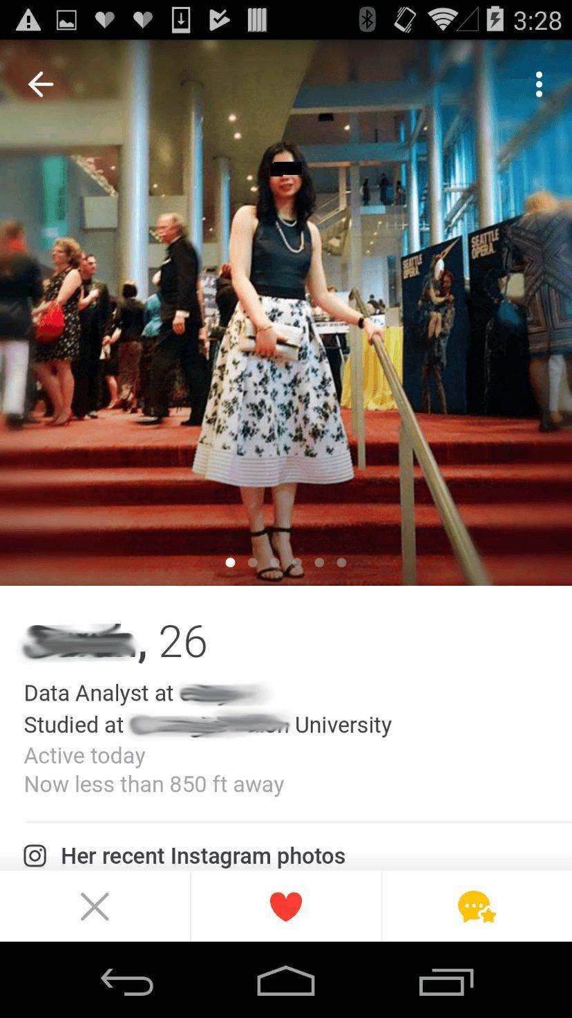 Tinder dating app user information