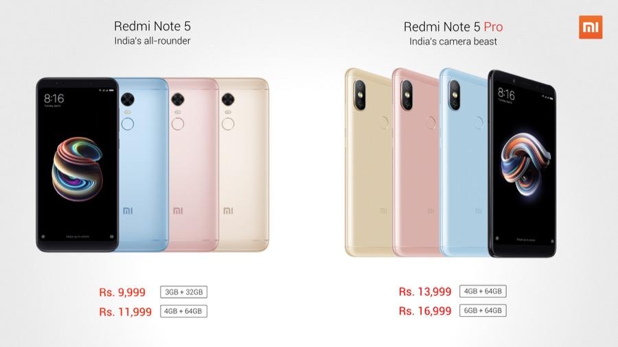 Xiaomi Redmi Note 5 Pro lineup