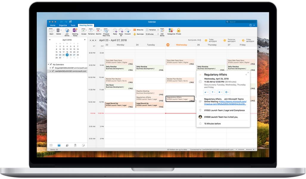 Microsoft Outlook for Mac Dual Time Zone