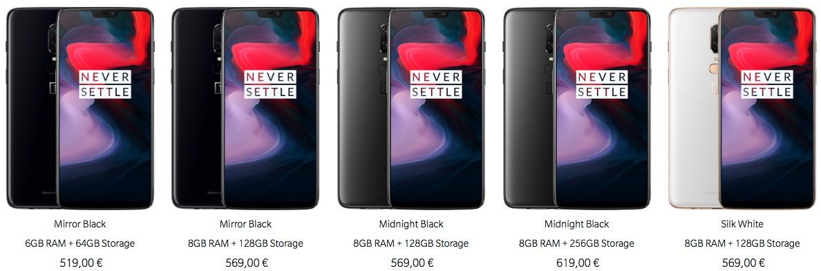 OnePlus 6 variants