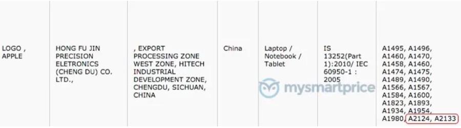 Apple iPad A2124 A2133 certification