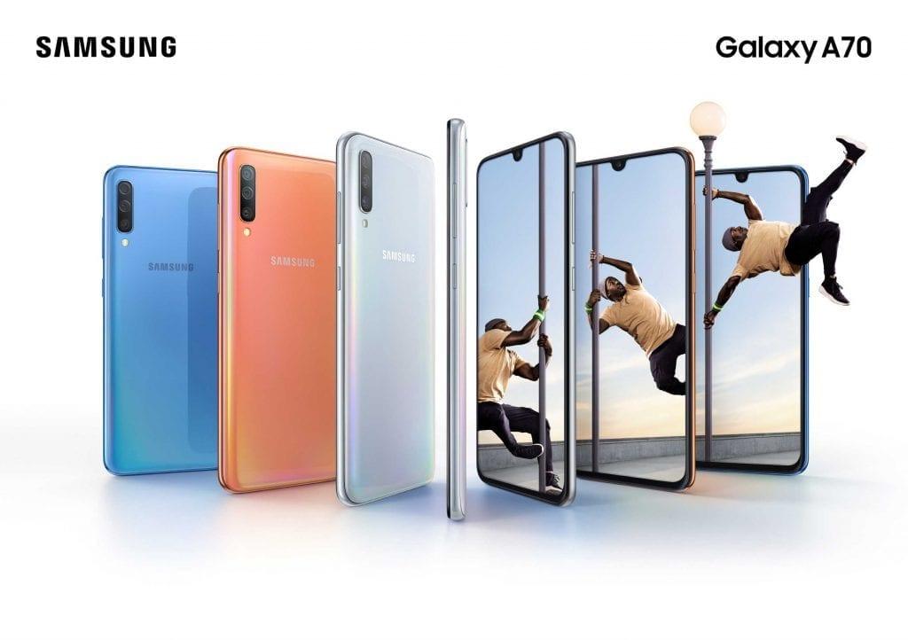 Samsung Galaxy A70 combo blue coral white