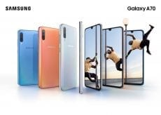 Samsung Galaxy A70 combo blue coral white