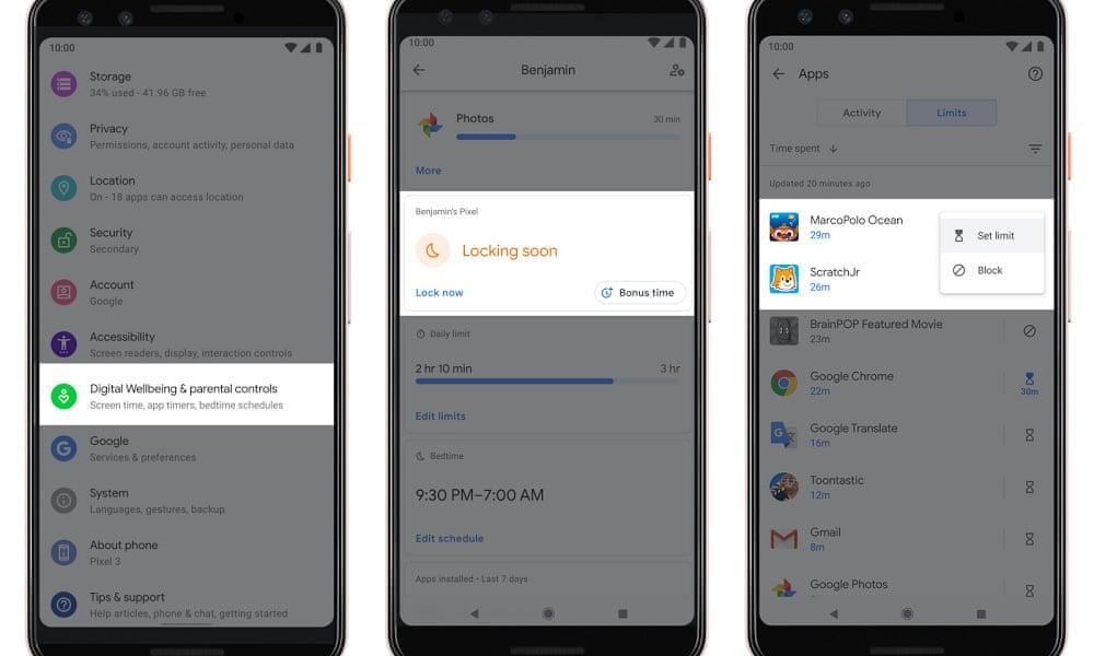 Android Q parental controls