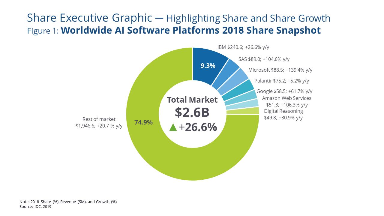 idc ww ai software platforms market share 2018