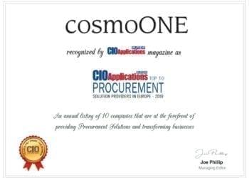 cosmoONE CIO Applications Europe Top 10 Certificate