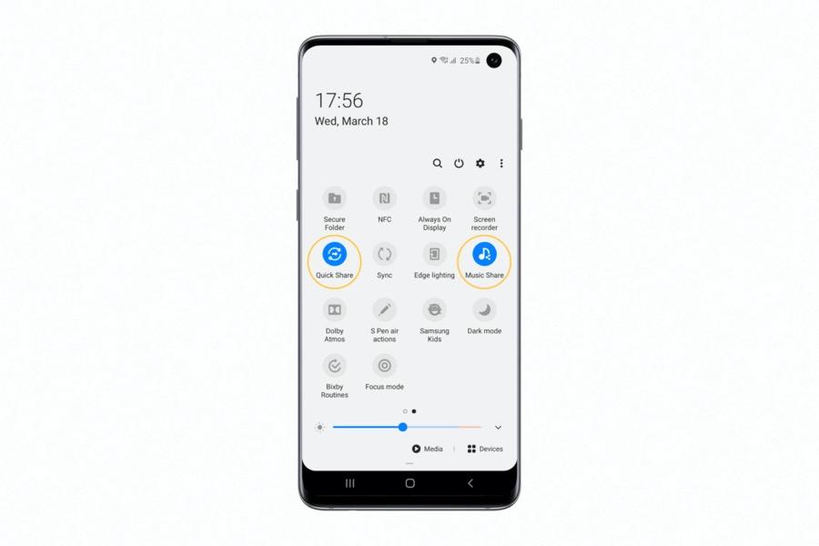Samsung Galaxy S10 quick share music share